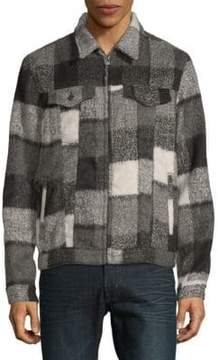 Cult of Individuality Plaid Wool-Blend Grunge Jacket
