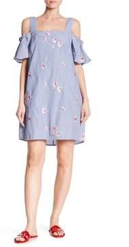 Bobeau Embroidered Stripe Cold Shoulder Dress