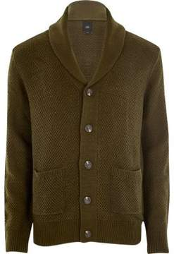 River Island Mens Khaki green shawl neck button-up cardigan