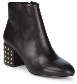 Saks Fifth Avenue Studded Block-Heel Leather Booties