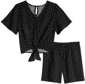 Love, Fire 2-Pc. Dot-Print Top & Shorts Set, Big Girls