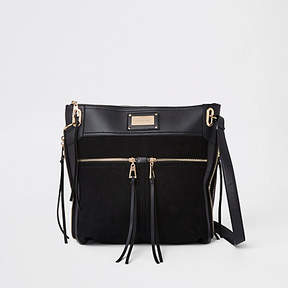 River Island Black double pocket messenger bag