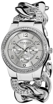 Akribos XXIV Akribos GMT Multi-Function Silver-Tone Ladies Watch