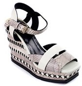 Roberto Cavalli Women's Cream Snake Embossed Wedges.
