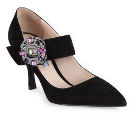 Prada Jeweled Velvet Mary Jane Pumps