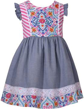Bonnie Jean Baby Girl Print Lace-Trim Dress