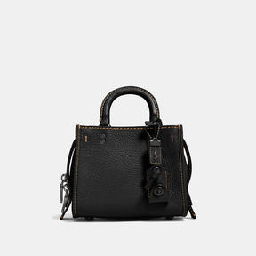 COACH Coach Rogue 17 In Natural Pebble Leather - BLACK COPPER/BLACK - STYLE