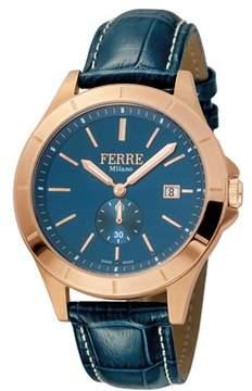 Ferré Milano Men's Swiss Made Swiss Quartz Dark Blue Leather Strap Watch.