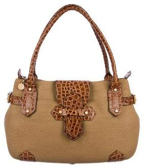 Eric Javits Leather-Trimmed Woven Raffia Tote