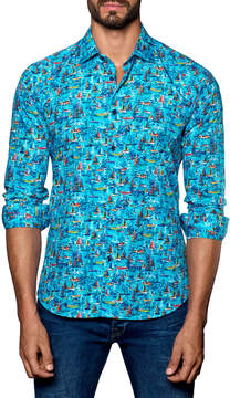 Jared Lang Men's Spread Collared Boat Print Sportshirt
