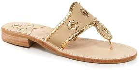 Jack Rogers Nantucket Leather Metallic Whipstitched Slip-On Sandals