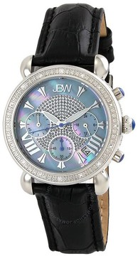 JBW Victory Blue Mother of Pearl Chronograph Dial Diamond Steel Case Black Leather Strap Ladies Watch