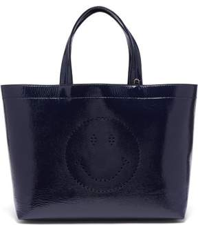 Anya Hindmarch Smiley Patent Leather Tote - Womens - Navy