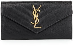 Saint Laurent Monogram Leather Large Flap Continental Wallet - BLACK - STYLE