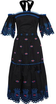 Temperley London Off-The-Shoulder Embroidered Cotton-Poplin Midi Dress