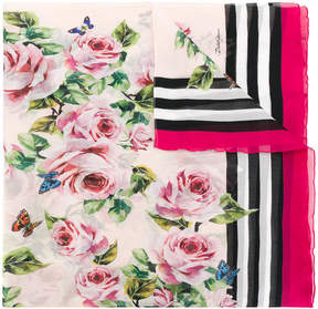 Dolce & Gabbana floral and stripe print scarf