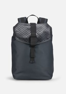 Emporio Armani all-over logo print cordura and leather backpack