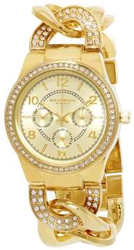 Akribos XXIV Akribos GMT Multi-Function Gold-Tone Ladies Watch