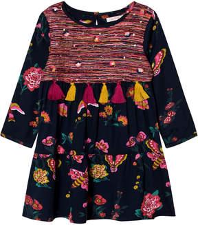 Billieblush Navy Floral and Butterfly Print Tassel Dress