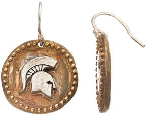 Dayna U Sterling Silver Michigan State Spartans Antiqued Coin Earrings