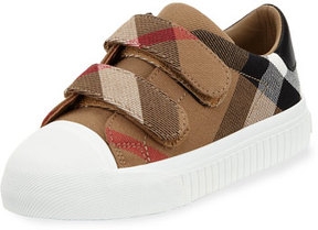 Burberry Belside Check Grip-Strap Sneaker, Youth
