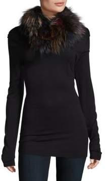 Adrienne Landau Knitted Multicolor Fox Fur Scarf