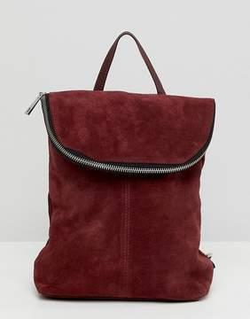 Asos DESIGN suede mini foldover backpack