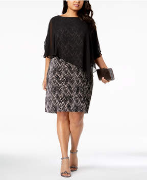 Connected Plus Size Printed Capelet Dress