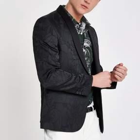River Island Mens Black textured floral skinny fit blazer