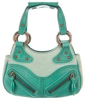 Marc Jacobs Leather & Suede Handle Bag - GREEN - STYLE