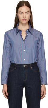 A.P.C. Blue and Red Pinstripe Lenka Shirt