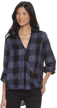 Rock & Republic Women's Plaid Buttoned Crossover Shirt