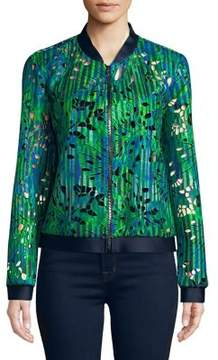 T Tahari Fatima Printed Cut-Out Bomber Jacket