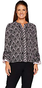 Bob Mackie Bob Mackie's Lace Print Button Front Blousewith Flutter