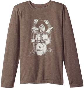 Life is Good Drumming Gorilla Long Sleeve Cool Tee Boy's T Shirt
