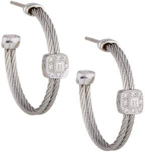 Alor Classique Gray Steel & 18k Diamond Cable Hoop Earrings