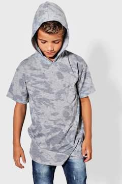 boohoo Boys Long Line Splash Print Hooded Top