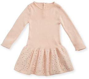 Chloé Long-Sleeve Knitted Sequin Dress, Size 2-3