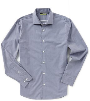 Murano Performance Slim-Fit Spread Collar Gingham Long-Sleeve Sportshirt