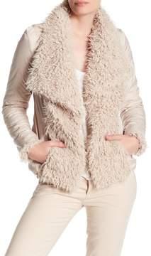Betsey Johnson Draped Collar Faux Fur Jacket