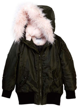 DKNY Faux Shearling & Faux Fur Coat (Big Girls)