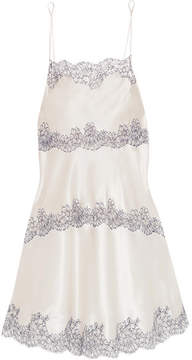 Carine Gilson Chantilly Lace-trimmed Silk-blend Satin Chemise - Cream