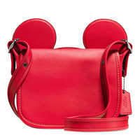 Disney Mickey Mouse Ears Patricia Saddle Leather Bag by COACH - Red