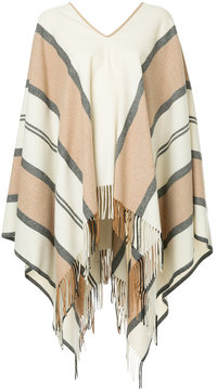 ESTNATION striped v-neck poncho