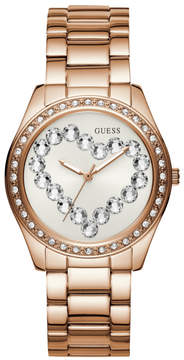 GUESS Rose Gold-Tone and Rhinestone Heart Watch