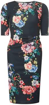 Dorothy Perkins Black Floral Print Ruched Side Bodycon Dress
