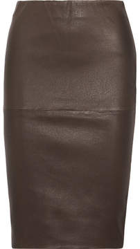 By Malene Birger Floridia Stretch-leather Midi Skirt - Chocolate