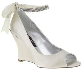 Nina Emma Satin Wedge Peep Toe Pump.