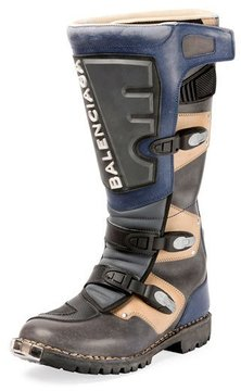 Balenciaga Rider Leather Moto Boot, Gray
