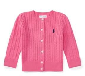 Ralph Lauren Cable-Knit Cotton Cardigan Baja Pink 6M